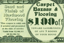 $100 coupon on sanding and finishing of hardwood flooring