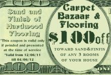 $100 coupon on sanding and finishing of hardwood flooring
