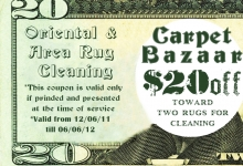 $20 coupon on oriental rug cleaning